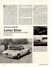 1964 LOTUS ELAN ~ ORIGINAL 3-PAGE ROAD TEST / ARTICLE / AD
