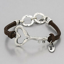 Brown Leather Rhodium Silver Hammered Heart Key Charm Bracelet