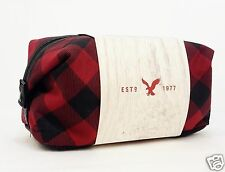 1 American Eagle Plaid Red Black Bag Case Pouch Men Women Makeup Shave Travel