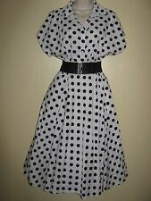 Impresionante Pin Up 1940/50s Estilo Lunares Swing Dress 16-18