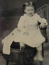 Antique Tintype Victorian Photograph Girl Child Baby Kicking Legs Motion Jewelry