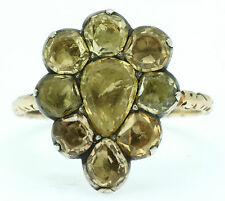 A Stunning 10ct Golden Topaz Pear Shaped Cluster Ring Circa 1760's