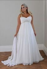 2016 New Plus Size White/Ivory Bridal Gown Chiffon Wedding Dress:14W---26W