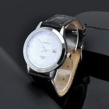 Fashion Stainless Steel Leather Men's Date Sport Analog Quartz Wrist Watch Gift
