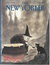 COVER ONLY ~ New Yorker magazine ~ November 3, 1986 ~ ADDAMS ~ Witch Black Cat