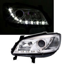CHROME FINISH HEADLIGHTS FOR OPEL ZAFIRA A 99-05 with LED DAYTIME LIGHTS