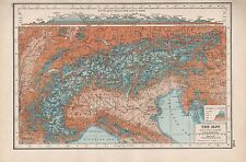 1920 MAP -POST WW1- THE ALPS, INSET SECTION FROM LYONS TO ZAGREB