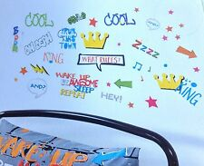 BEDROOM WALL STICKER DECALS GRAFFITI THEMED MULTICOLOURED REMOVABLE 36 STICKERS