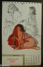 Al Buell March 1961 Sketch Book Calendar Page Beauty Stoking the Fire Poker