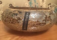 Crackle Mosaic Mink/Bronze Mirrored Large Bowl Vase Glass Hand Made New Gift