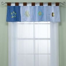 New NoJo SEA BABIES Window VALANCE Applique Octopus Turtle Fish Blue