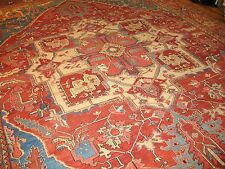 Antique Persian Heriz Serapi Rug Size 12'9''x17'9''