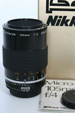 Nikon Micro Nikkor 105mm f4 Lens  AIS Mount * clean in box with sun shade bundle
