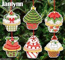 Janlynn Counted Cross Stitch kit ~ CHRISTMAS CUPCAKE 6 ORNAMENTS Sale #021-1390