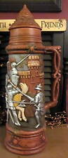 "XL 17"" Hand Painted 3D Vintage Antique Beer Stein Tankard Lidded Knight Scene"