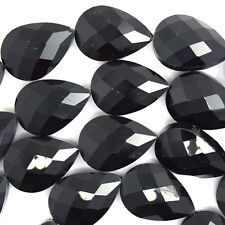 "17x24mm faceted crystal flat teardrop beads 7.5"" strand black jet"