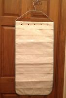 NEW 80 Pocket 2-Sided Hanging Jewelry Organizer Beige Clear Storage Bag Closet