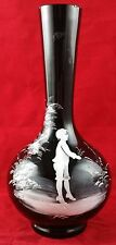 Antique Black Glass Vase, White Enamelled in Mary Gregory Style. Figure of Boy