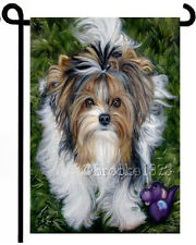 Biewer Terrier Puppy Yorkie painting Garden Flag Dog Art Tiki