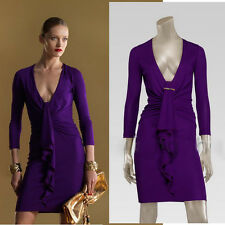 sz S NEW $1790 GUCCI Purple JERSEY FITTED Gold CHUNKY ZIP BACK Fall V neck DRESS
