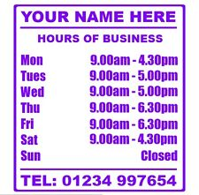 Opening Hours Times Sticker For Shops Pubs Clubs You Choose Hours and Colour OH2