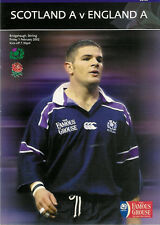 SCOTLAND A v ENGLAND A 1 Feb 2002 RUGBY PROGRAMME at STIRLING
