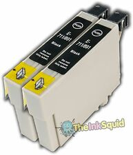 2 Black T0711 Cheetah Ink Cartridges (non-oem) fits Epson Stylus SX510W SX515W