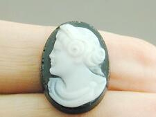Antique Black & White Hard Stone Cameo Removed From Estate Ring NR