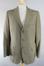 CLASSIC DAKS SIMPSON PURE WOOL TAILORED STRIPED GREEN TWEED JACKET 41 INCH