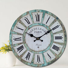 Vintage Retro Style Classic Roman Digital Round French Country Paris Wall Clocks