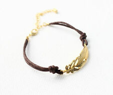 New Celebrity Simple Elegant Leaves Leather bracelet Charm Cuff Bangle Gold SHCA