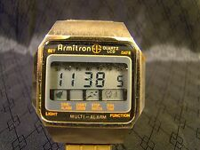 Nice Men's Vintage Armitron Digital LCD Multi Alarm Gold Watch