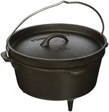 Cast Iron Dutch Oven Black Pot Legs Lid Wire Handle Campfire Cookware Camping
