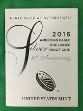 Five (5) 2016 W American Silver Eagle Proof Coas, 30th Anniversary, Coas Only