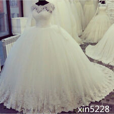 Princess White Lace Wedding Dresses Crystal Temple Cathedral  Bridal Ball Gowns