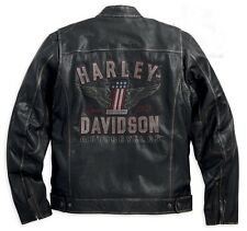 Harley Davidson  Men's  Long  Way  Washed  Leather  Jacket.  US L. New !