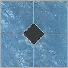 Blue Vinyl Floor Tile 20 Pcs Adhesive Bathroom Flooring - Actual 12'' x 12''