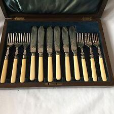 & Plateado Plata Anillos Plata Maciza 6 tenedores y conjunto de peces knifs Con Caja De Madera
