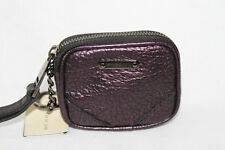 AUTH $375 Burberry Grainy Metal Leather Brindley Coin Case With Key Ring Purple