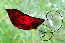 RED ROBIN with HAND SCROLLED WIRE WINGS Stained Glass BIRD SUNCATCHER DECORATION