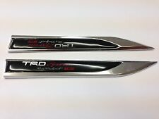 2PCS TRD SPORT METAL SIDE FENDER V EMBLEM BADGE STICKER BLACK FOR TOYOTA