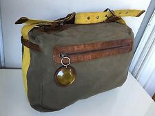 MARNI  MESSENGER TOTE SHOULDER HAND BAG  ARMY GREEN CANVAS BROWN LEATHER