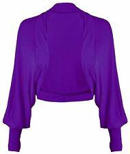 New Ladies Batwing Shrug Long Sleeve Womens Jersey Bolero Cardigan Top Size 8-26