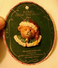 CUTE! Sculpt Russ Bears From the Past Christmas Teddy Bear Yuletide Brooch Pin G