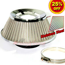 "3"" 76mm Inlet HIGH FLOW Short Ram Cold Air Intake Cone STAINLESS STEEL Filter V1"
