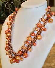 """JOAN RIVERS"" ROSETONE ORANGE & PEACH GLASS PEARL BEADED NECKLACE FABULOUS!!!"