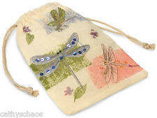 """Muslin Beaded Sequined Dragonfly String Pouch 1 Gift Poly Bag Runes Sachet 5x7"""""""