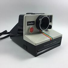 Vintage Retro OneStep Polaroid SX-70 Land Camera Rainbow Stripe White