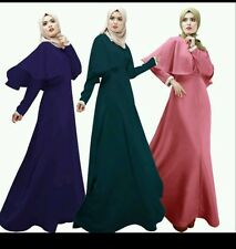 UK SELLER** Maxi Muslim abaya jilbab Islamic dress women's  Long Sleeve Dress