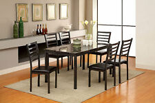 Furniture Of America Colman Black 60 Inch Dining Table With Side Chairs 7 Pc Set